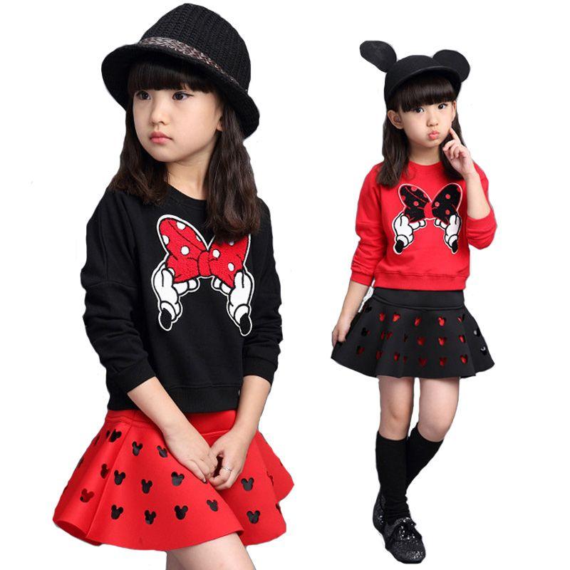 Girls Cartoon Minnie Sport Clothing Set 2018 New Spring Autumn Sport Suit <font><b>2Pcs</b></font> Sweater+Skirt Suits Kids Cotton Clothes Set 3-10Y