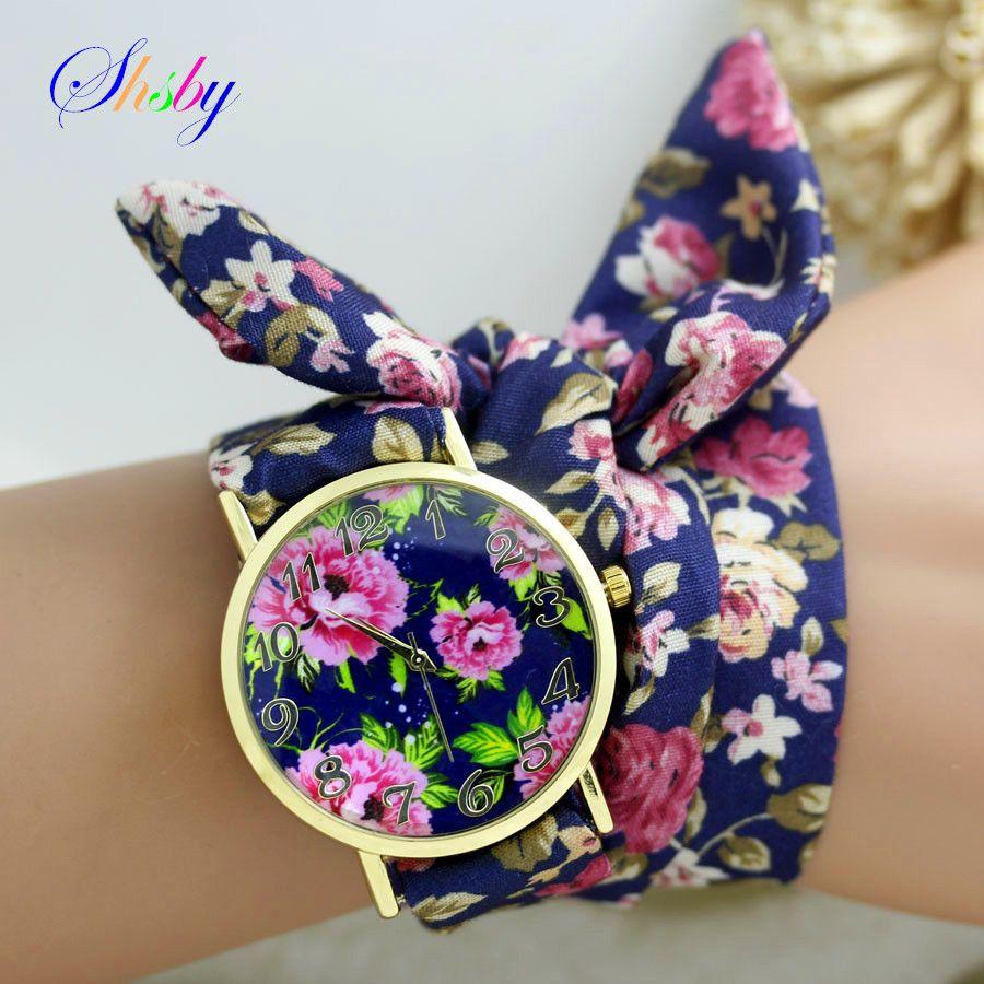 Shsby nueva Señoras del diseño de la flor del paño de la muñeca vestido de las mujeres relojes de moda reloj de oro de alta calidad fabric watch sweet girls reloj