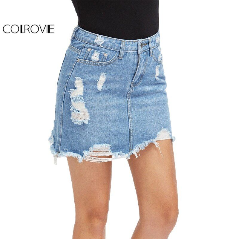 COLROVIE Casual High Waist Denim Skirt <font><b>Blue</b></font> Light Wash Women Distressed Mini Pencil Skirt 2017 Sexy Ripped 5 Pocket Summer Skirt
