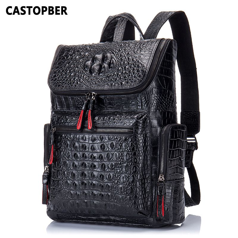 Crocodile Genuine Leather Men's Backpack Male Leather High Quality Student Travel Bag Men Designers Famous Brand High Quality