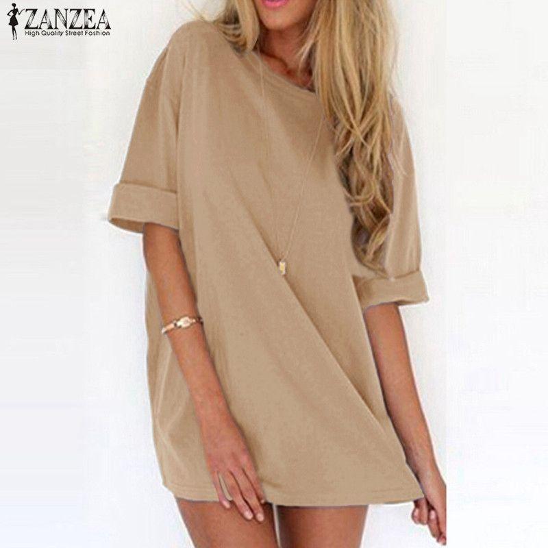 ZANZEA femmes Sexy Mini robe 2019 été dames décontracté lâche à manches courtes solide plage robes de grande taille longs hauts Vestidos 5XL