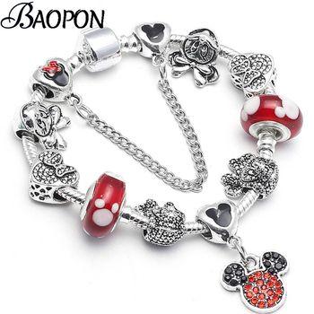 BAOPON Dropshipping Mickey Minnie Marano Beads Fit Pulseira Pandora Original Charm Bracelet Com Agradável Para Crianças Presente Especial