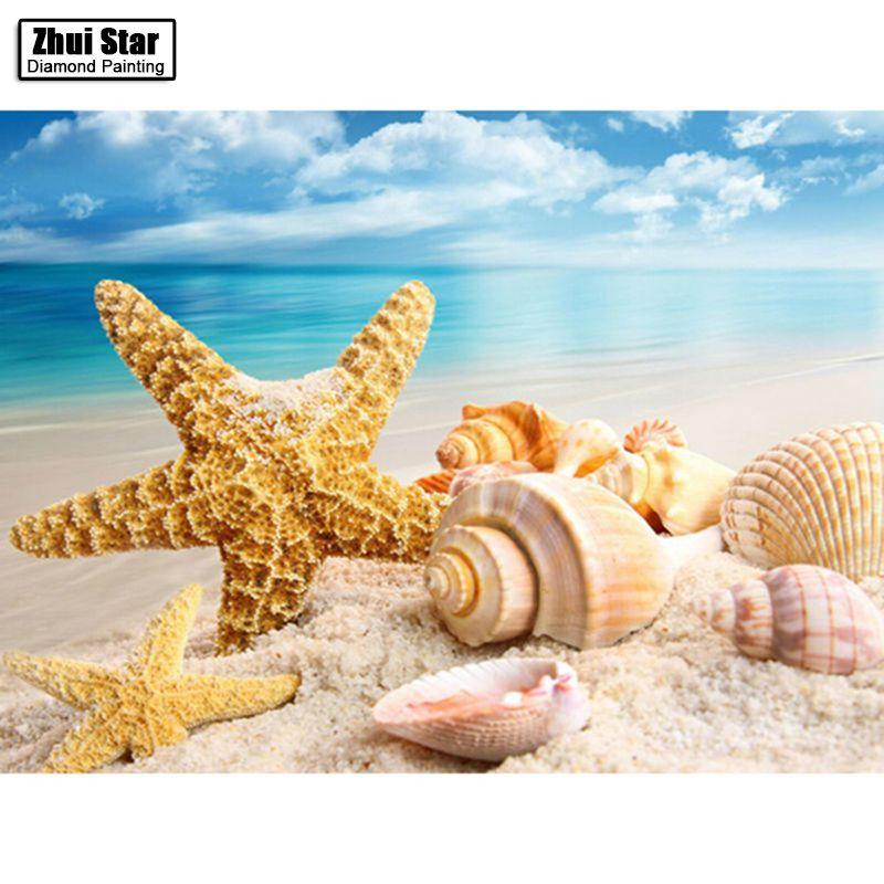 DIY Вышивка с кристаллами море В виде ракушки Starfish пейзажа Домашний Декор полный горный хрусталь мозаика 5d diamond Вышивка