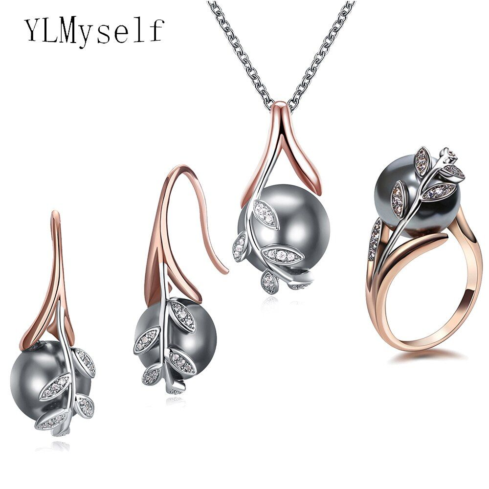 Big discount sale Pendant Necklace Earrings ring 3pcs sets Rose gold plate Grey pearl & cubic zircon Trendy leaf jewelry set