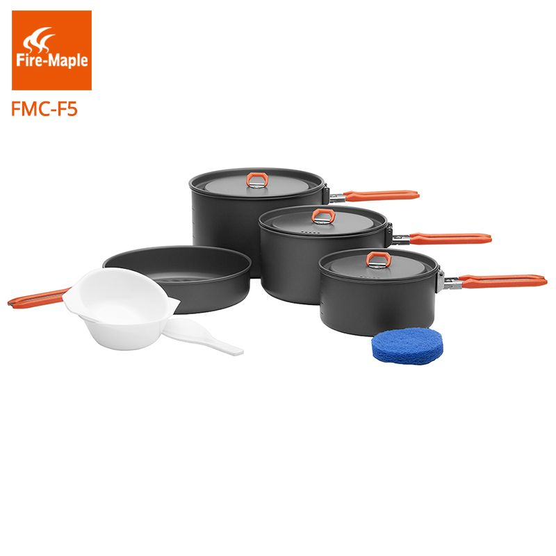 Fire Maple Pinic Cookware Outdoor Camping Hiking Backpacking Cooking Picnic 3 Pots 1 Frypan Set Foldable Handle Feast 5 FMC-F5