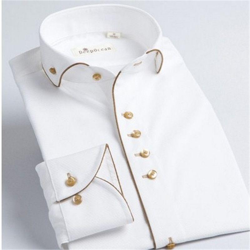 DeepoceanTuxedo Chemise Styles 2017 Camisa Sociale Masculina 100% Coton Marque Shirt Blanc chemise homme Français slim Fit Chemises