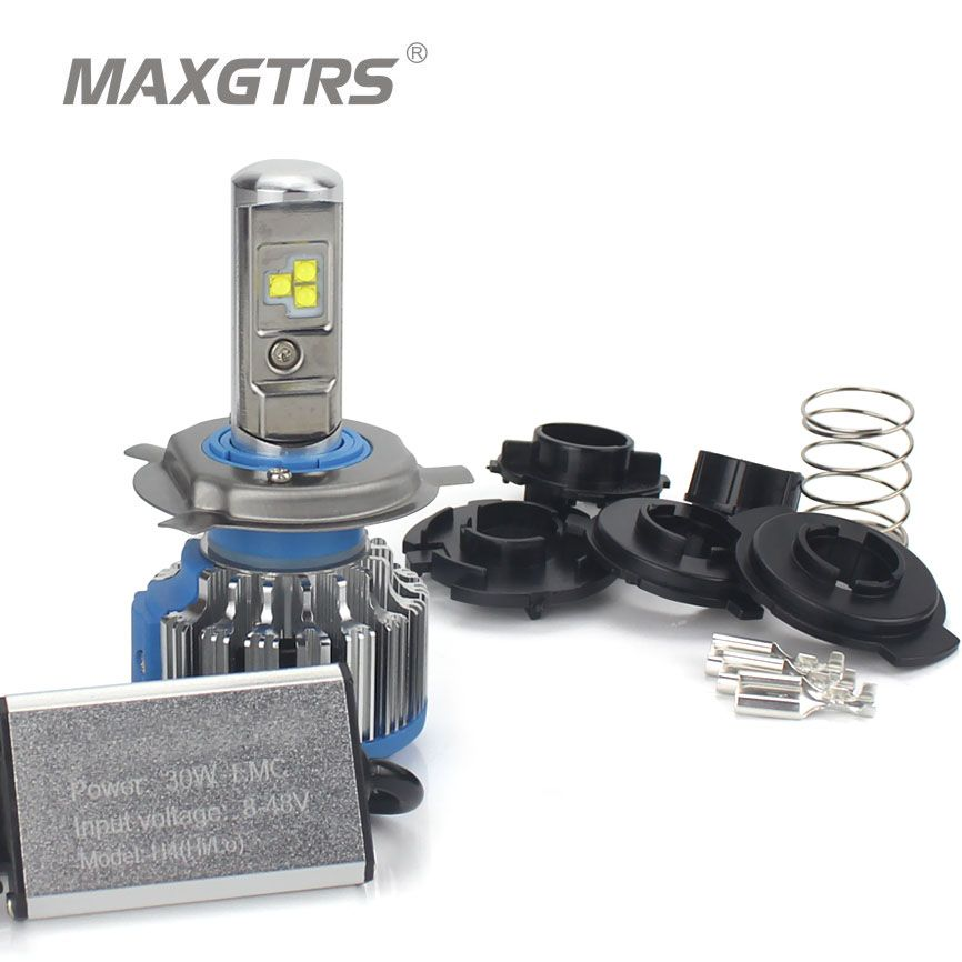 MAXGTRS H4 LED Motorcycle Headlight HS1 Bulb BA20D 30W 4800LM Flip Chip Moto light Moped KMT EXC ATV Lamp Perfect Hi Lo Beam