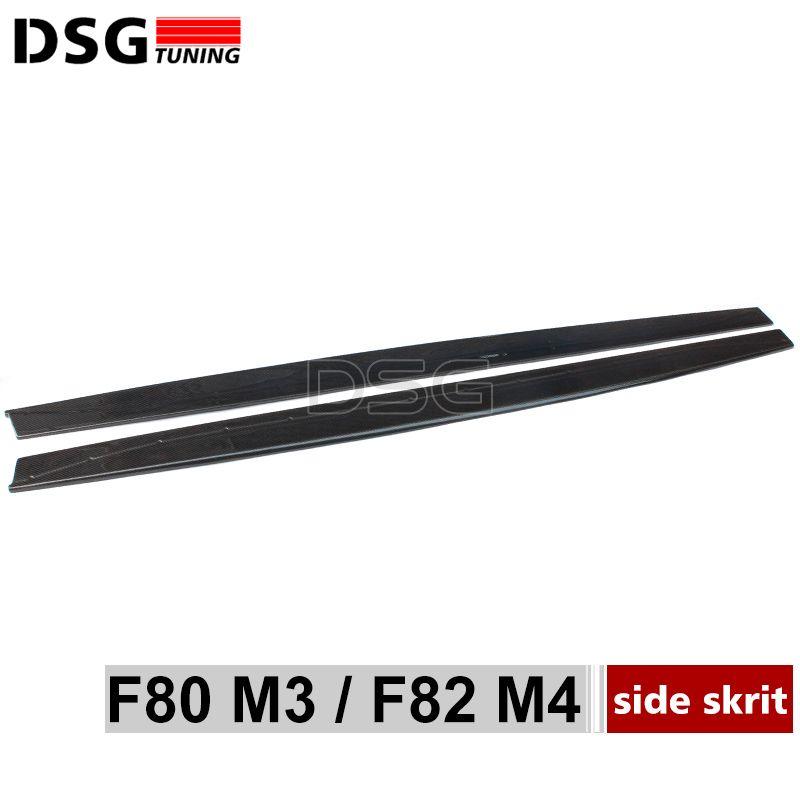 F80 F82 углеродного волокна бампер для губ сбоку юбки спойлер Накладка для BMW M3 F80 M4 F82 f83 2015-подарок