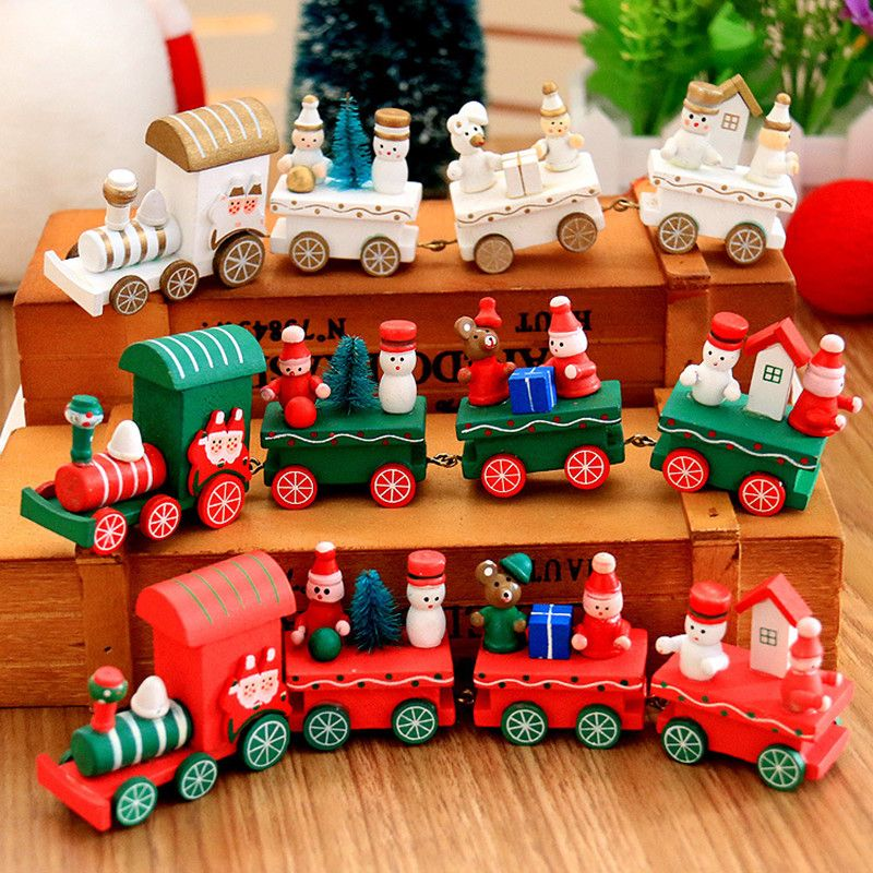 Christmas Gifts DIY Wooden Train Christmas Decorations For Home Children's Gifts Xmas Window Dressing Navidad Party Supplies
