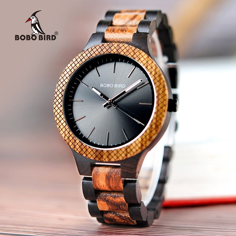 BOBO BIRD Men's Retro Zebra Wooden Watch Handmade Gifts Items in Wood box relogio masculino C-D30-1