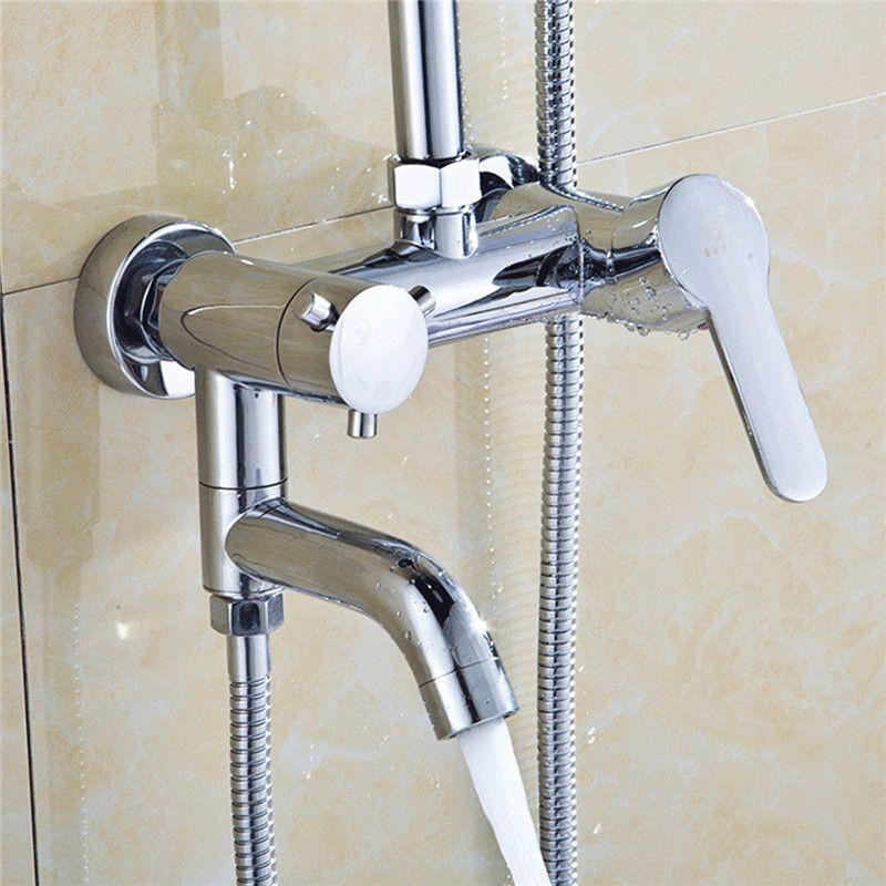 Wandhalter Heißer/Kalte Dusche Mischbatterie Chrom Messing Wasserfall Waschbecken Wasserhahn Becken Mischbatterie Badewanne Dusche Wasser Tap