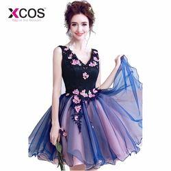 XCOS 2018 Navy Biru Homecoming Dresses Bunga V Leher Min Lace Pendek Wisuda Dresses Cocktail Dress pernikahan & de coctel