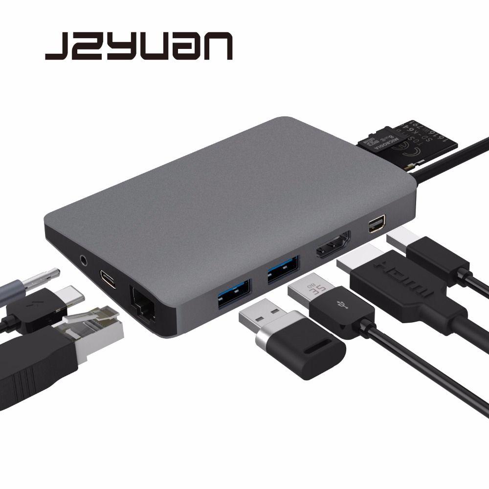 JZYuan 9 in 1 USB C 3.1 HUB 4K Video HDMI Gigabit Ethernet Adapter With Mini DP 3.5mm Audio Type C PD Charging Dual USB 3.0 HUB