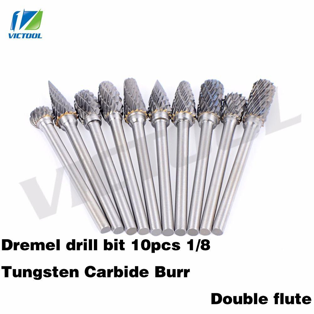 10 pièces 1/8 carbure de tungstène 3mm forets fraises rotatives métal diamant meulage bois fraises pour Dremel forets