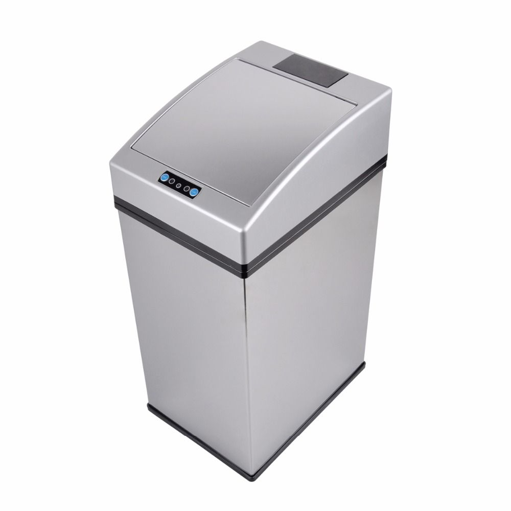 7L Stainless Steel Touchless Automatic IR Sensor Dustbin For Home Kitchen Office Sensor Trash Can Table Waste Bin