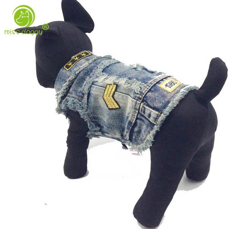 Usine Directe Vente Explosion Modèle Chien Vêtements Cool Cowboy Gilets Vêtements Pour Animaux Printemps et Automne Chien Vêtements Denim Veste pour pet