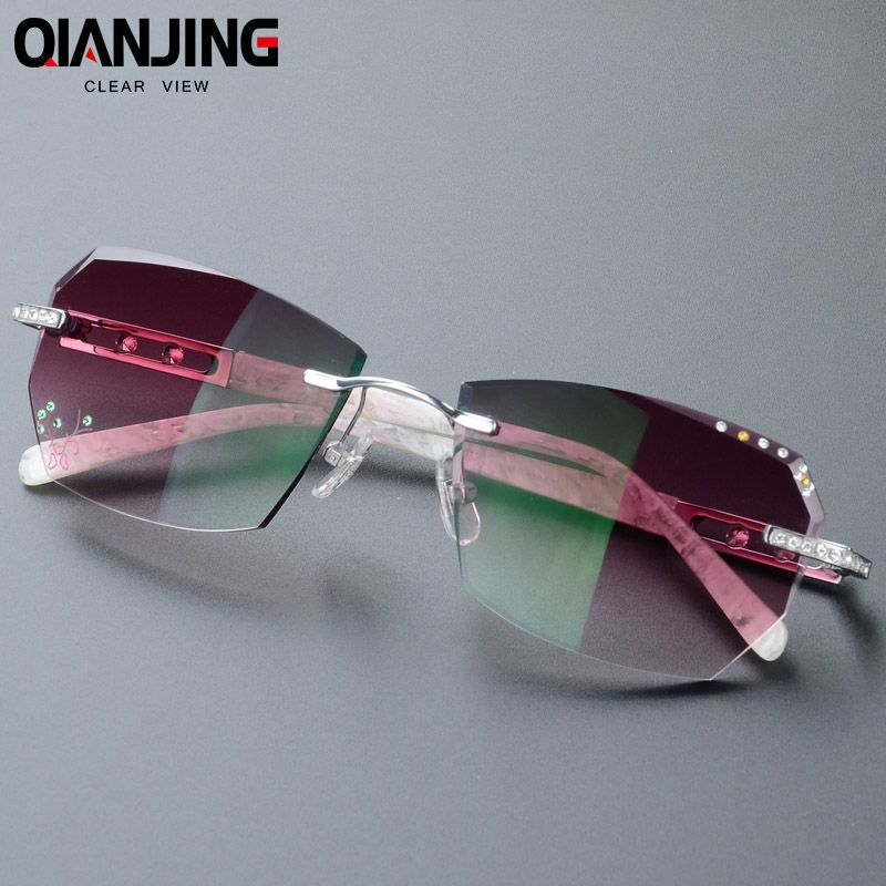 2018 Summer style fashionable trimming rimless women's Complete prescription sunglasses with Rhinestones on lenses Gold Frame