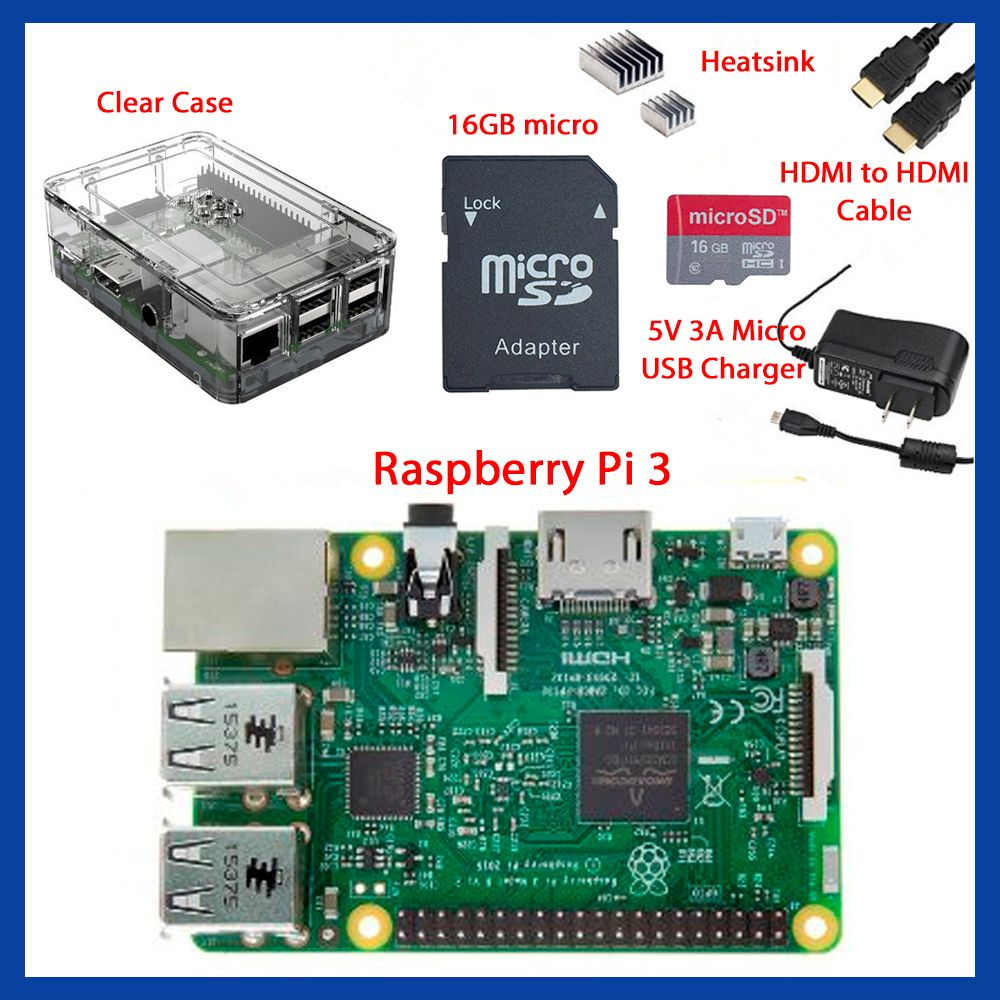 EU standard power adapter Complete Starter Kit Clear Case 16GB with Noobs Heatsink Edition for Raspberry Pi 3