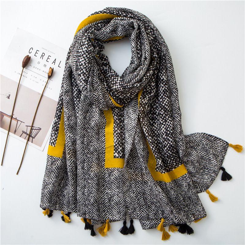 2019 mesdames mode aztèque gland Viscose châle écharpe femmes de haute qualité Wrap Pashmina étole Bufanda musulman Hijab Snood 180*100Cm