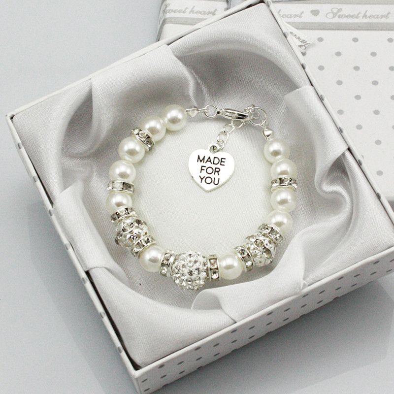 Новые персонализированные для маленьких девочек подарок на день рождения браслет дочь с коробкой белый