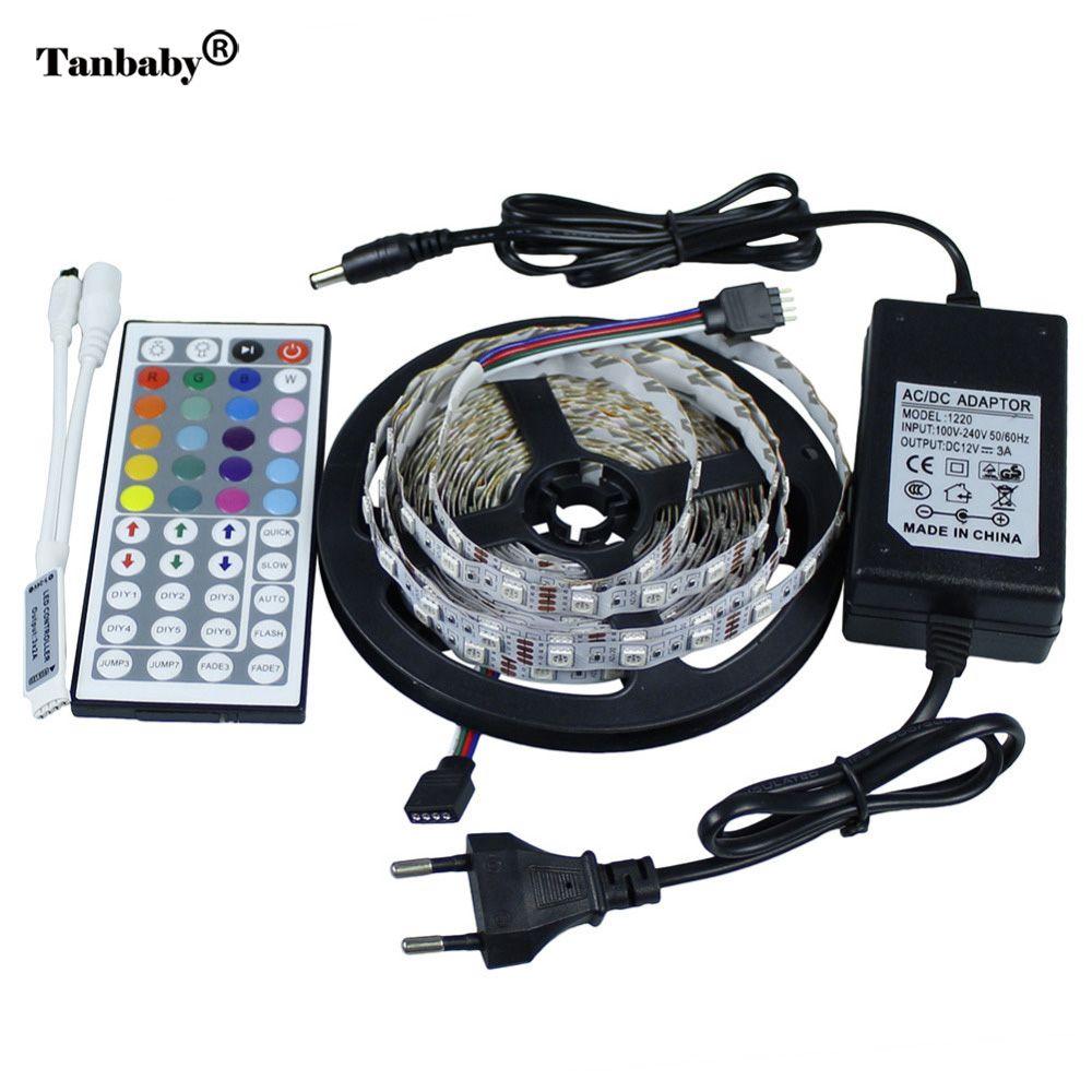 LED bande 5050 LED SMD lumière 5 M 300 LED DC12V + 44Key contrôleur RGB (pour bande RGB) + 12 V 5A adaptateur secteur EU US UK AU