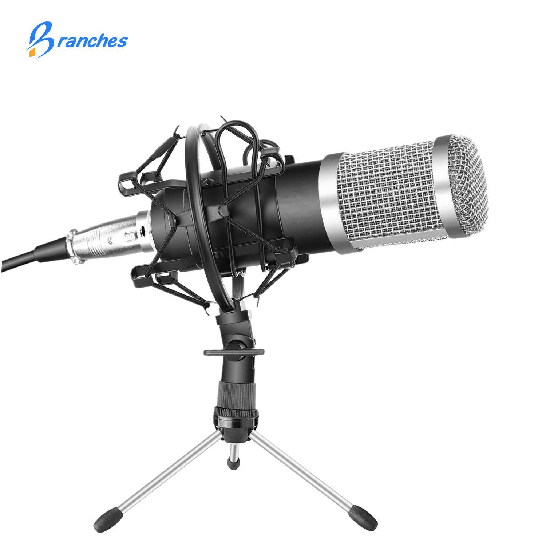BM-800 Kit micro à condensateur professionnel: Microphone pour ordinateur + support anti-choc + capuchon en mousse + câble As BM 800 Microphone BM800