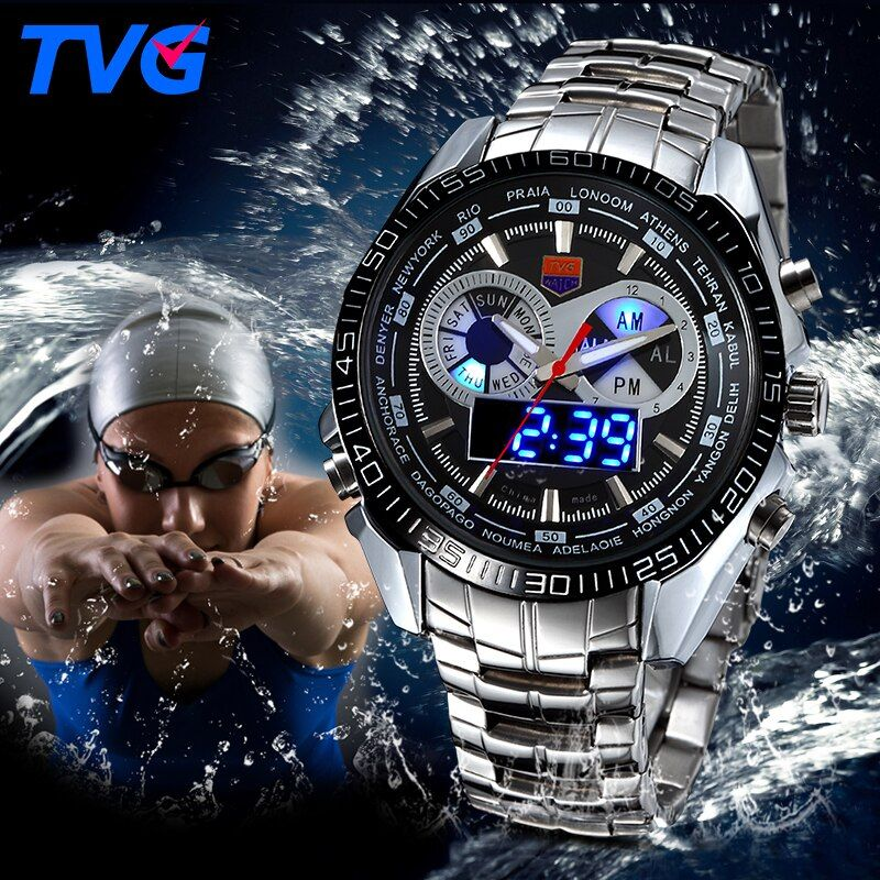 Tvg edelstahl luxus band mode black digitaluhr sport herren analog led dual time zone 3atm wasserdicht uhren hombre