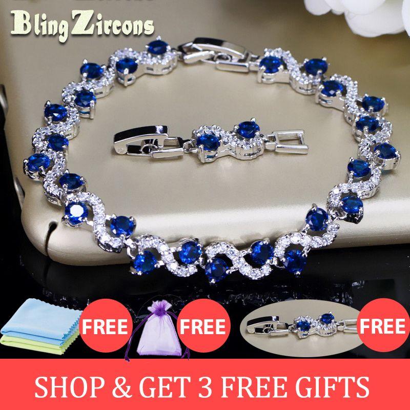 BeaQueen charmant cristal bleu foncé femmes Bracelets de Tennis avec zircon cubique pierre 925 bijoux en argent Sterling B016