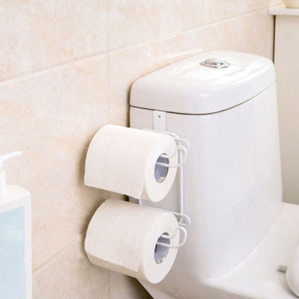 Bathroom Toilet Seat Organizador Colgante 2 Capas de Tejido de Acero Inoxidable Titular de Rollo de Papel Toalla Estante Almacenaje de la Cocina Estante De La Puerta