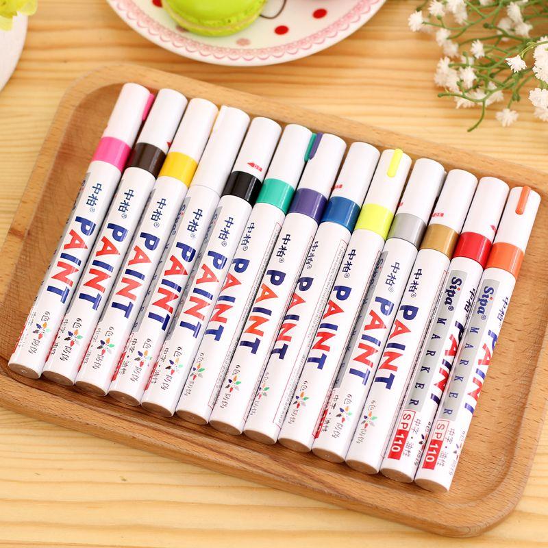 13 Colores Rotulador Permanente Impermeable Colorido Metal Oilly Llenar pintura Para La Escuela BRICOLAJE Neumático Pisada CD de Metal Pintura marcadores