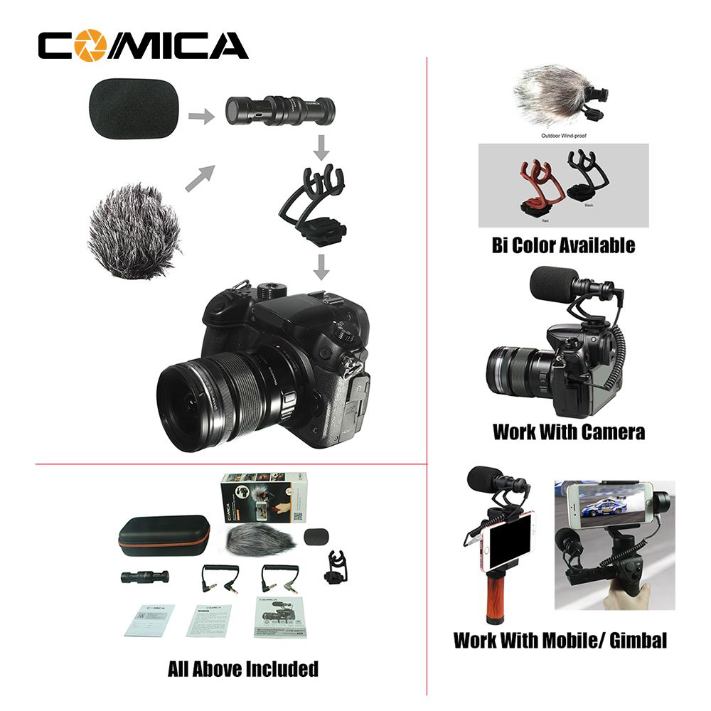 COMICA CVM-10II Full Metal MINI compact on-camera Cardioid Directional Video Microphone with Shock-Mount for Smartphone, Gopro