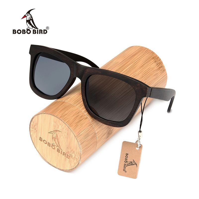 BOBO BIRD Ebony Wooden Sunglasses Men's Luxury Brand Designer Polarized Sun Glasses Vintage sunglass women