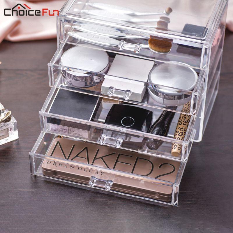 Choix FUN maison bureau vanité acrylique 4 tiroirs cosmétique maquillage organisateur clair en plastique maquillage boîte de rangement pour bijoux
