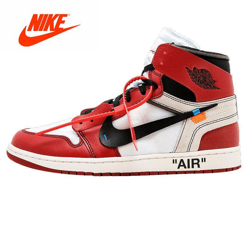 Original New Arrival Authentic NIKE Air Jordan 1 X Off-White Men's Basketball Shoes Sneakers AJ1 Good Quality AQ0818-148