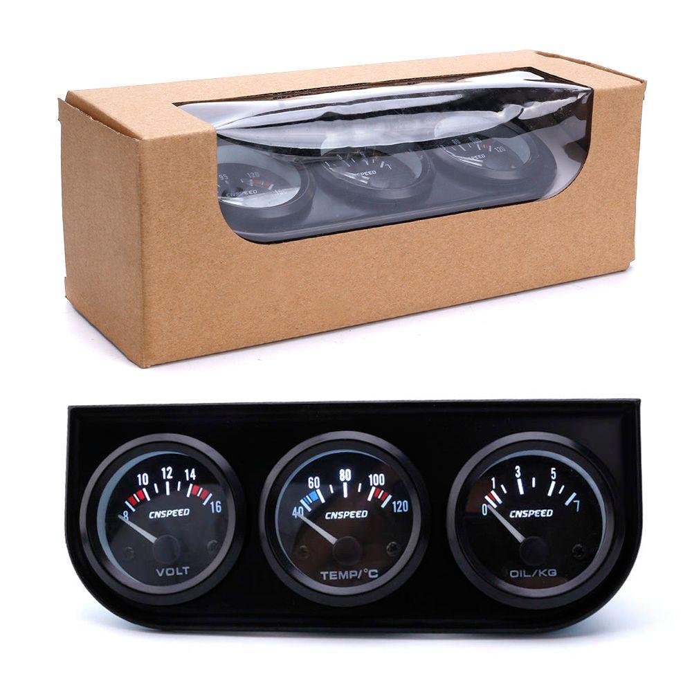 CNSPEED 52mm 12V Triple Gauge Kit Water Temp Gauge Oil pressure Voltmeter Temperature With Sensor Auto Gauge Car Meter 3in1