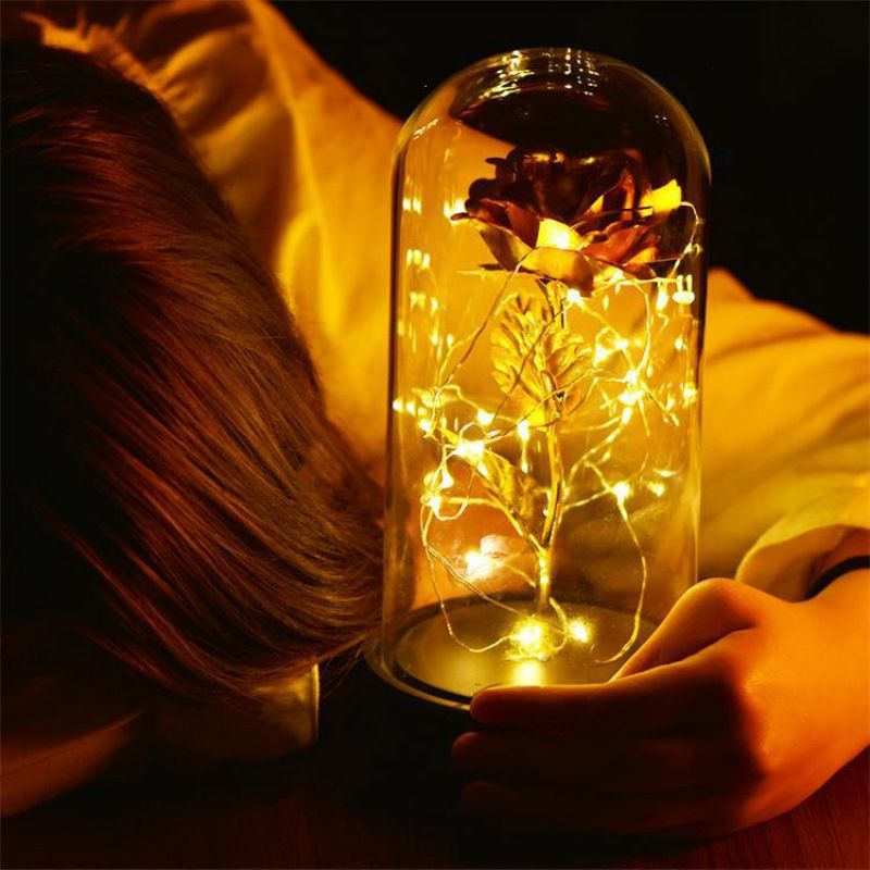 Beauty And The Beast Rose In Glass For Valentine's Gifts Gold-plated Red Rose With LED Light In Glass Dome For Wedding Party