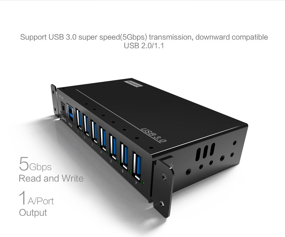 Hub de charge Portable 7 ports USB Chargeur HUB avec 12 V 3A power adapter