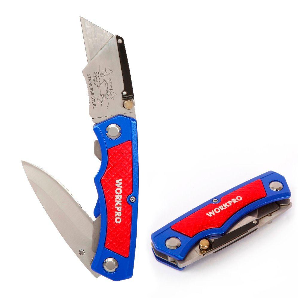 Workpro twin лезвие Ножи электрик Универсальный нож Алюминий ручка Ножи складной Ножи многофункциональный инструмент кабельный резак Лидер про...