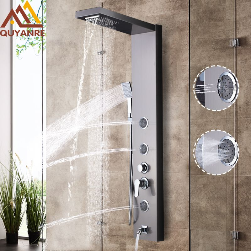 Quyanre Shower Faucet Nickel Shower Panel Rainfall Waterfall Shower Head Mist SPA Jets Single Handle Mixer Tap Bath Faucets