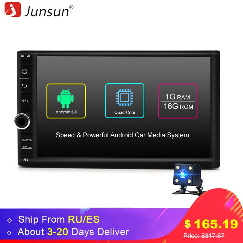 Junsun Quad Core 7 2 Din Android 6.0 Car DVD Radio Multimedia <font><b>Player</b></font> 1024*600 Universal GPS Navigation autoradio Stereo Audio