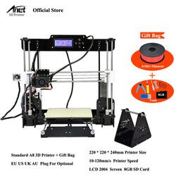 Anet A8 Auto niveau et Normale 3D Imprimante 0.4mm Buse Reprap i3 Aluminium Alliage Foyer Pritner DIY Kit Filament 8g SD Carte