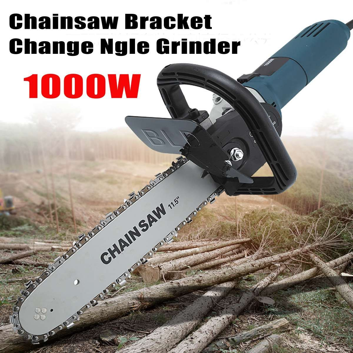 1000W 11000rpm 6 Speed Adjustable Electric 100 Angle Grinder + M10 Chainsaw Woodworking Cutting Chainsaw Bracket Change Grinder