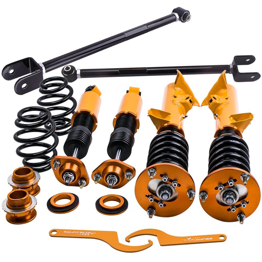 For 92-98 BMW E36 Adjustable Height Coilover Strut Springs Suspension Golden For 318 323 325 Sedan Coupe Shocks Struts 318i 318