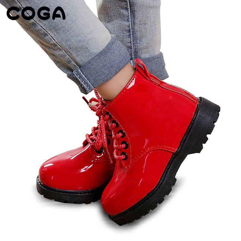 Детская обувь осенние и зимние 2017 детей корейской версии ботинки «мартенс» кожаные водонепроницаемые ботинки