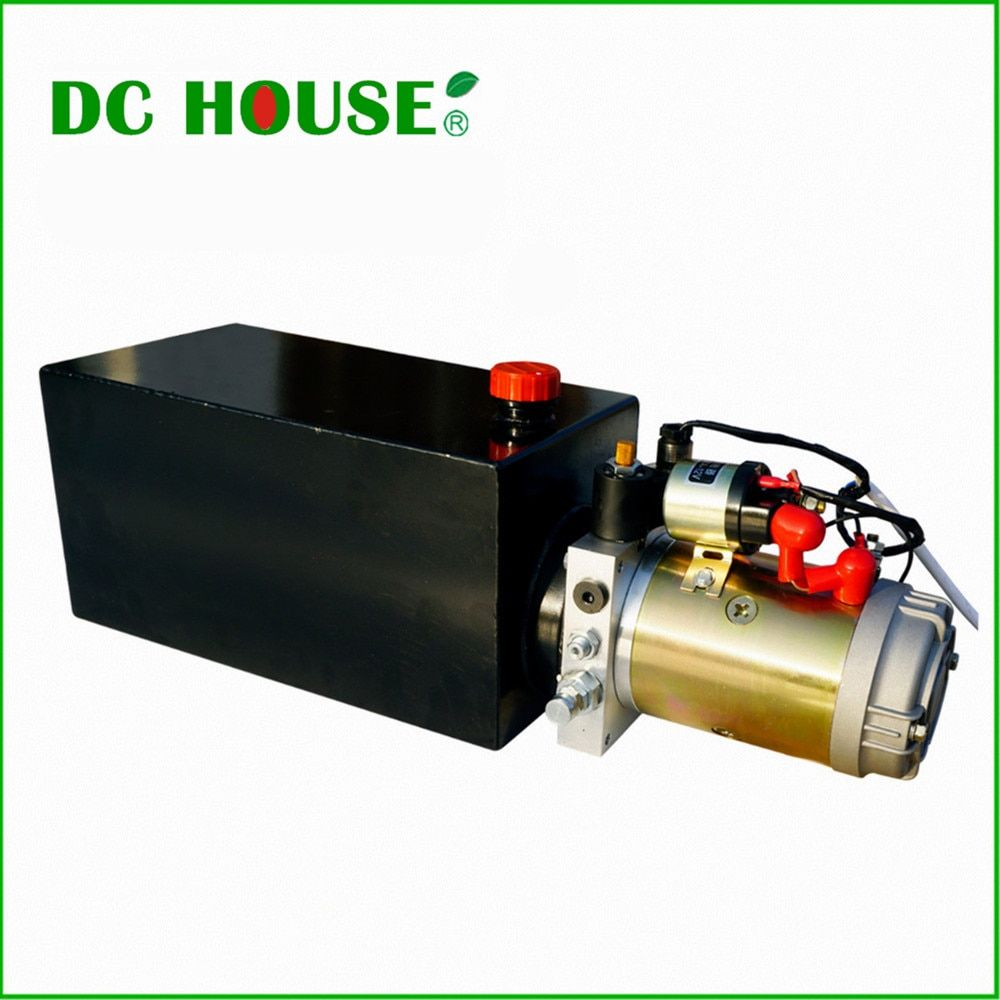 DC HAUS Hochwertige Einfachwirkend Hydraulikpumpe 10L 12 V Kippanhänger-10 Quart 3200 PSI Max