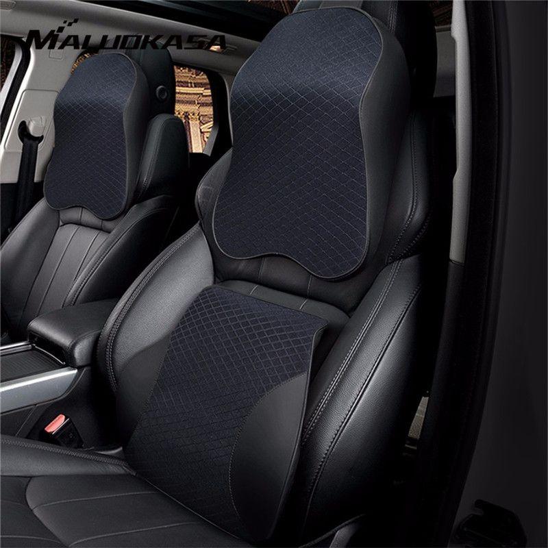 3D Memory Foam Car Pillow PU Leather Seat Cushion Neck Pillow Waist Lumbar Universal Back Rest Lumbar Auto Accessories