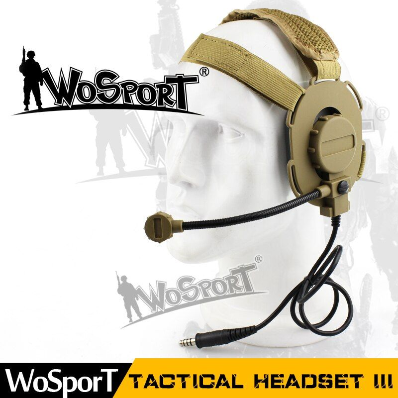 WoSporT Tactical Military Bowman Elite Headset III Microphone can be removed used with PTT for Walkie Talkie CS Communication