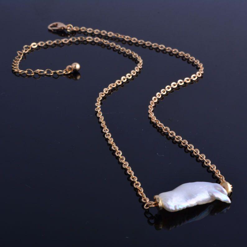 Collier pendentif en perles d'eau douce baroques AAA avec chaîne en acier inoxydable cadeau pour femme