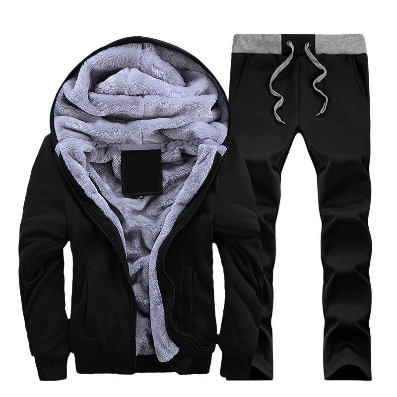 2018 Tracksuit Men Winter Thick Inner Fleece Sets Mens Hat Casual Active Suit Men Zipper Man Outwear 2PC Jacket+Pants