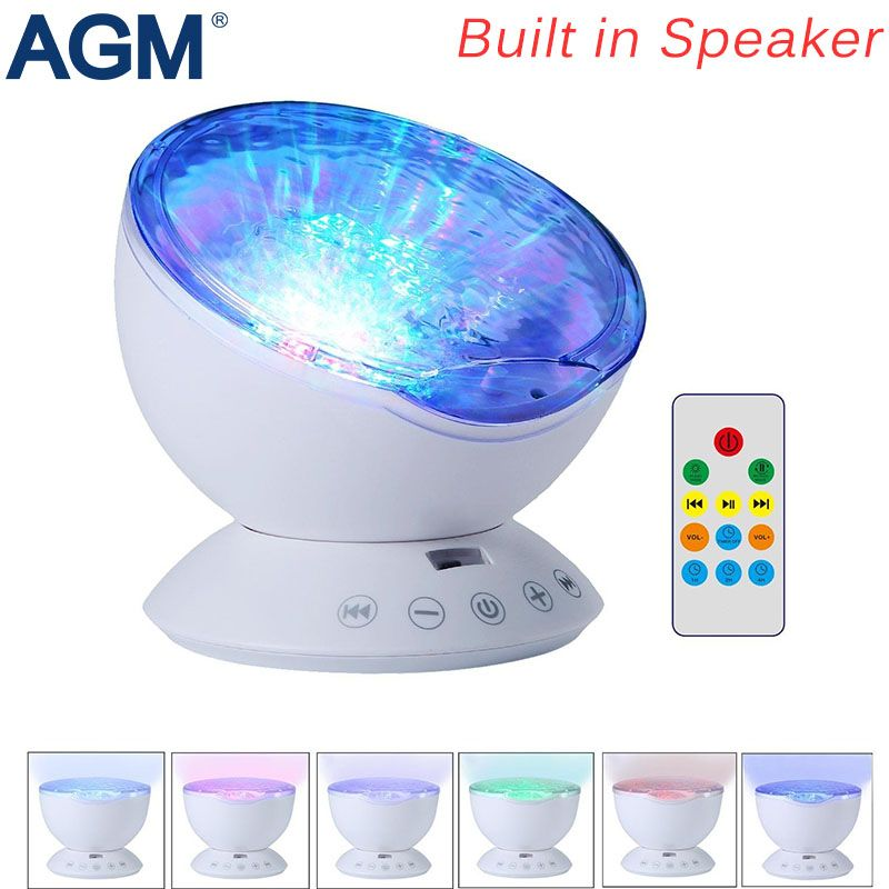 AGM Ocean Wave Starry Sky Aurora LED Night <font><b>Light</b></font> Projector Luminaria Novelty Lamp USB Lamp Nightlight Illusion For Baby Children